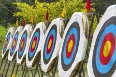 Blasons d'archerie alignés sur un pas de tir